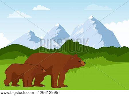 Mountain Landscape With Bears, Realistic Mountain Landscape With A Group Of Bears. Vector, Cartoon I