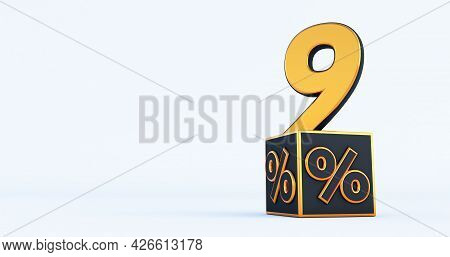Gold Nine 9 Percent Number With Black Cubes  Percentages Isolated On A White Background. 3d Render