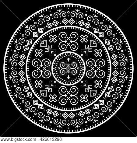 Tribal Vector Black Mandala Design With Geometric Shapes, Slovak Bohemian Folk Art, Ornament Inspire