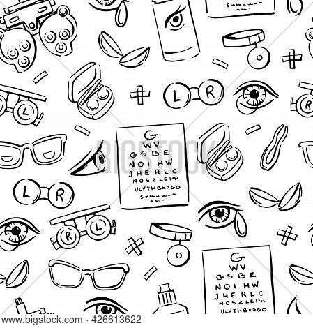Ophthalmology Doodle Seamless Pattern. Optometry, Contact Lenses, Glasses, Phoropter And Much More.