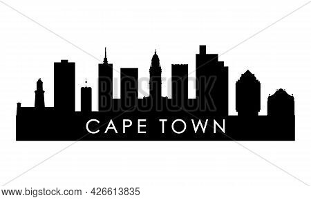 Cape Town Skyline Silhouette. Black Cape Town City Design Isolated On White Background.