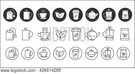 Tea Icons. Set Of Simple Icons Of Aromatic Tea. Tea Leaves And Tea Cups. Brewing Tea In A Teapot. Ve
