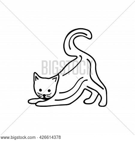 Cute Cat In A Funny Pose. Vector Black And White Doodle Isolated Illustration. Pet Playful