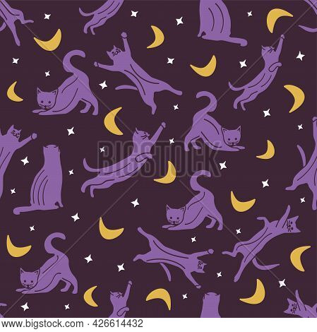 Seamless Pattern With Cats In Different Poses, In The Night Sky, With Stars And Crescent. Vector Col
