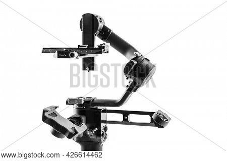 Camera Gimbal Stabilization Tripod System on a white background