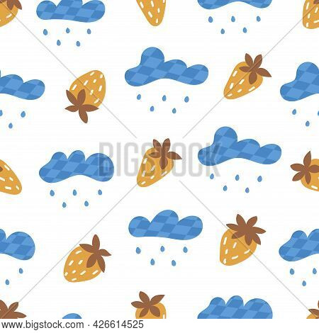 Seamless Pattern With Clouds With Rain And Strawberry. On White Background. Vector Colorful Illustra