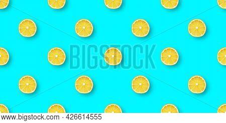 Fresh Citrus Lemon Seamless Pattern. Lemons On Blue Background. Vector Design Template For Packaging