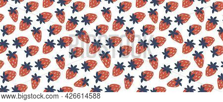 Seamless Pattern With Strawberry. On White Background Horizontal. Vector Colorful Illustration Hand