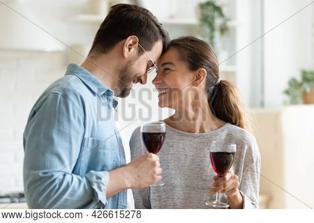 Loving Couple Holding Wine Glasses Touch Foreheads Relish Romantic Date