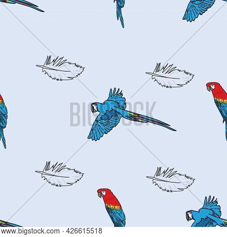 Vector Blue Background Tropical Birds, Parrots, Macaw, Exotic Cockatoo Birds. Seamless Pattern Backg