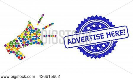 Bright Colored Mosaic Advertising Megaphone, And Advertise Here Exclamation Dirty Rosette Stamp Seal