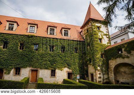 Benesov Nad Ploucnici, North Bohemia, Czech Republic, 26 June 2021: Old Saxoxy Renaissance Castle At