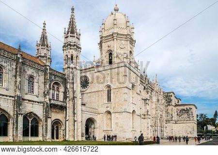 Lisbon, Portugal - February 15, 2017: Jeronimos Monastery (mosteiro Dos Jeronimos) Facade With Touri