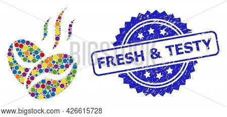 Vibrant Mosaic Coffee Beans Aroma, And Fresh And Testy Rubber Rosette Seal Print. Blue Seal Includes