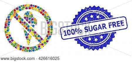 Colored Mosaic Forbidden Ice-cream, And 100 Percents Sugar Free Rubber Rosette Stamp. Blue Stamp Sea