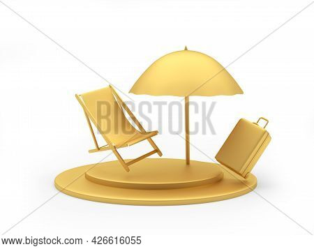 A Golden Chaise Longue With A Travel Suitcase Under A Beach Umbrella On A Stand. 3d Illustration