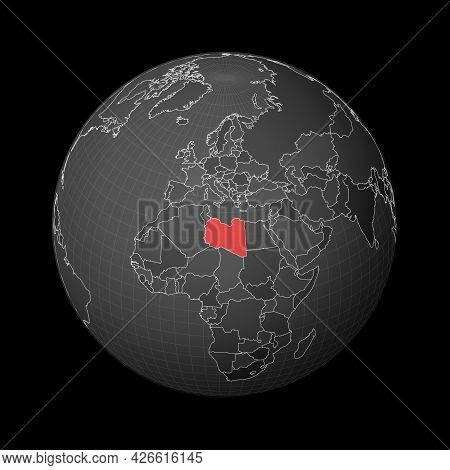 Dark Globe Centered To Libya. Country Highlighted With Red Color On World Map. Satellite World Proje