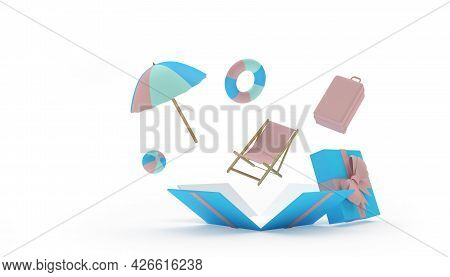 A Beach Umbrella With A Chaise Longue And A Travel Suitcase Fly Out Of A Gift Box. 3d Illustration