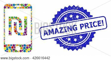 Bright Colored Collage Shekel Mobile Bank, And Amazing Price Exclamation Scratched Rosette Seal. Blu