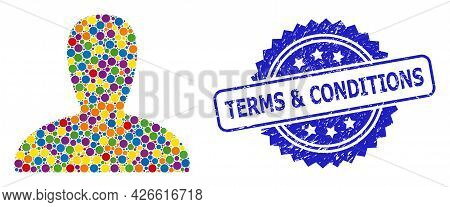 Colored Mosaic Spawn Persona, And Terms And Conditions Textured Rosette Seal Imitation. Blue Stamp H