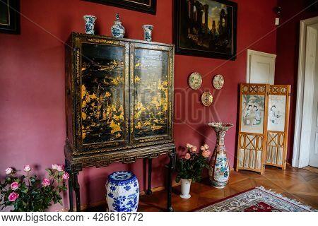 Velke Brezno, Czech Republic, 26 June 2021: Chateau Velke Brezno, Castle Interior With Baroque And R