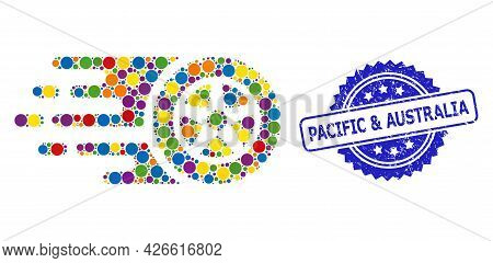Colorful Collage Tire Wheel, And Pacific And Australia Scratched Rosette Seal Print. Blue Stamp Seal