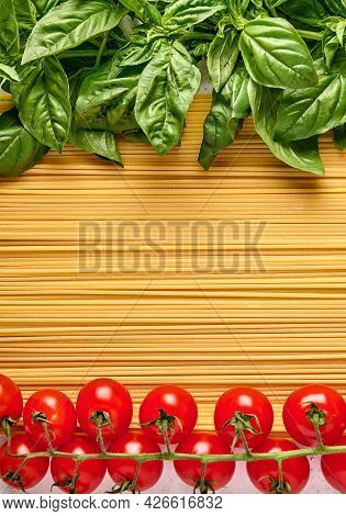Spaghetti Italian Pasta With Basil Leaves And Cherry Tomatoes, Arranged In The Colors Of The Italian