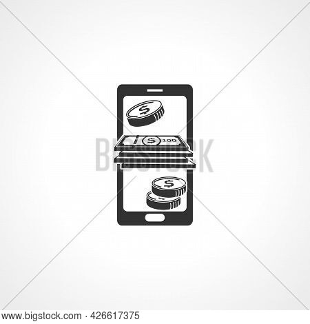 Online Earning Sign. Online Earning Isolated Simple Vector Icon. Money From Screen Of Mobile Phone
