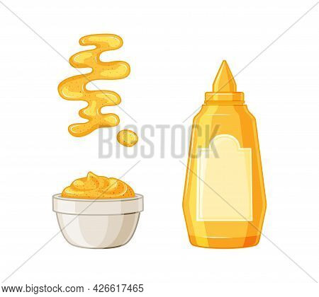 Mustard. Hot American Mustard Sauce Bottle, Bowl, Spoon, Splash. Set On A White Background. Vector I