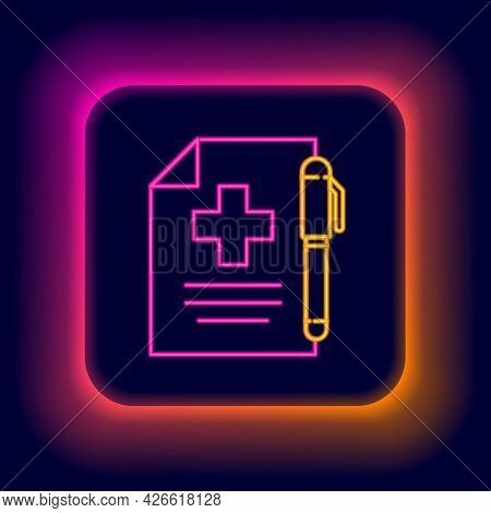 Glowing Neon Line Medical Prescription And Pen Icon Isolated On Black Background. Rx Form. Recipe Me