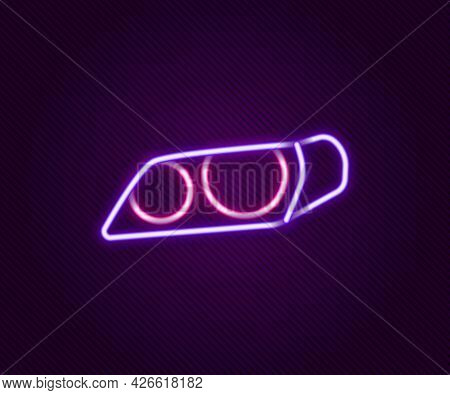 Glowing Neon Line Car Headlight Icon Isolated On Black Background. Colorful Outline Concept. Vector