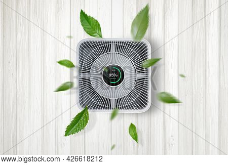 Air Purifier A Living Room, Air Cleaner Removing Fine Dust In House. Protect Pm 2.5 Dust And Air Pol