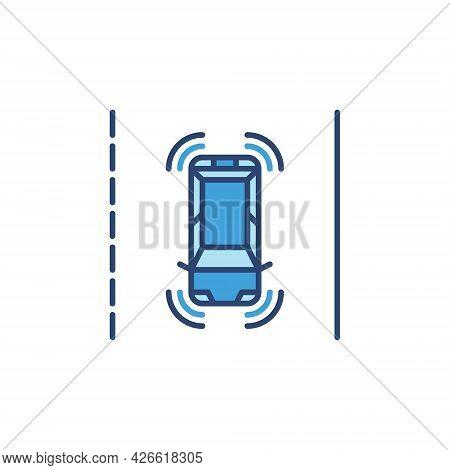 Autonomous Self-driving Car On The Street Vector Blue Icon