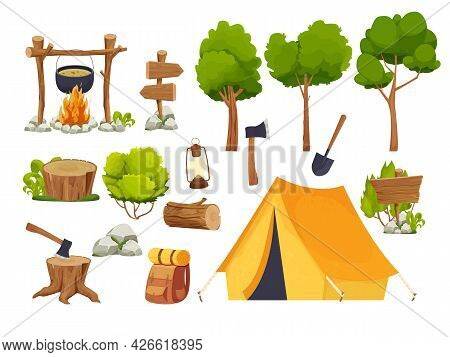 Set Camping Equipment Campfire, Tent, Lantern, Shovel And Axe, Travel Backpack Wood Log And Stump, F