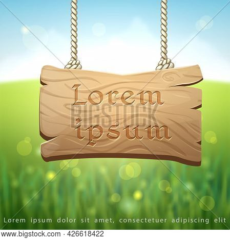 Natural Blurred Summer Or Spring Background With Hanging Wooden Signboard, Green Meadow And Sunlight