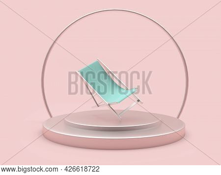 Empty Chaise Lounge On A Stand On A Pink Background. 3d Illustration