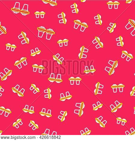 Line Water Filter Icon Isolated Seamless Pattern On Red Background. System For Filtration Of Water.
