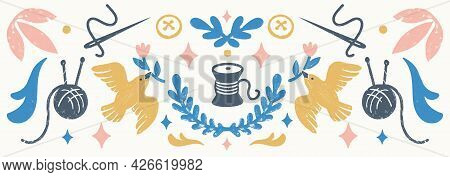 Sew, Vintage Elements, And Sewing Tools In Stamp Style. Vintage Vector Illustration For Banners And