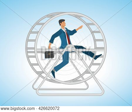 Stressed Business Man Runnning In Hamster Wheel, In Some Countries Called Squirrel Wheel. Vector Ill