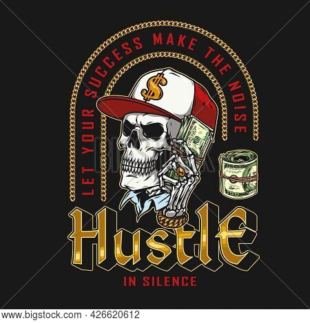 Money Vintage Colorful Print With Skull In Baseball Cap With Dollar Sign And Skeleton Hand With Gold