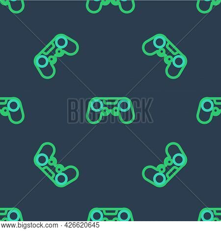Line Gamepad Icon Isolated Seamless Pattern On Blue Background. Game Controller. Vector