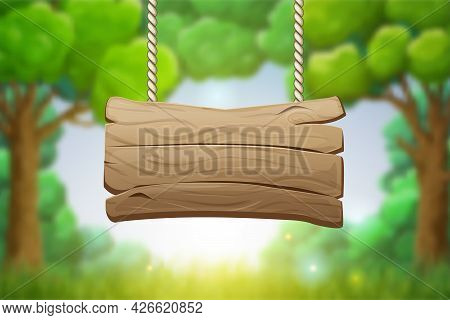 Natural Bokeh Background With Hanging Empty Wooden Signboard On Foreground. Cartoon Style Vector Ill