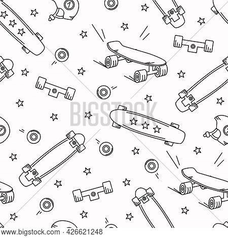 Skateboard Doodle Seamless Pattern. Stars, Wheels, Longboard Vector Background.