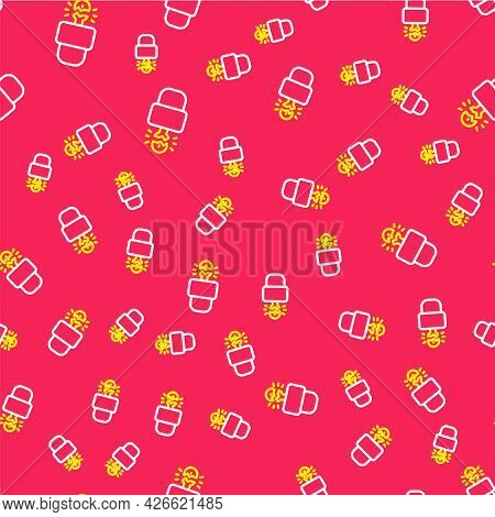 Line Key Broke Inside Of Padlock Icon Isolated Seamless Pattern On Red Background. Padlock Sign. Sec