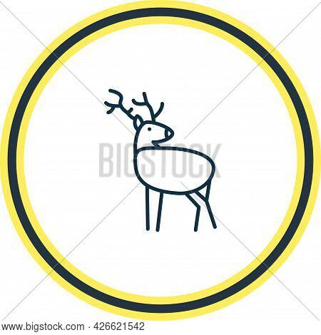 Vector Illustration Of Deer Icon Line. Beautiful Zoo Element Also Can Be Used As Antler Icon Element