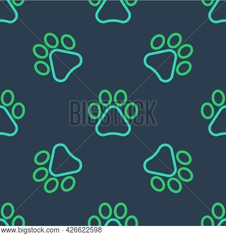 Line Paw Print Icon Isolated Seamless Pattern On Blue Background. Dog Or Cat Paw Print. Animal Track