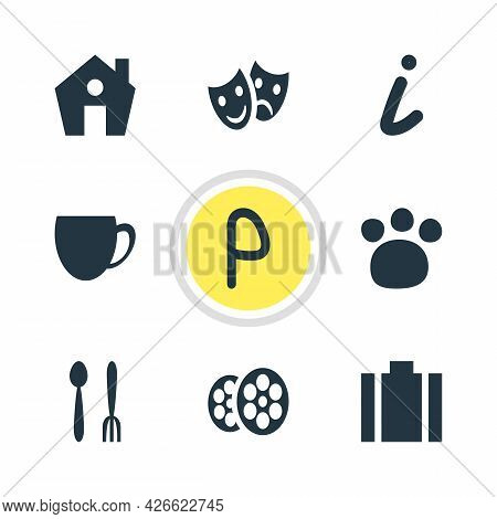 Vector Illustration Of 9 Location Icons. Editable Set Of Zoo, Portfolio, Parking Sign And Other Icon