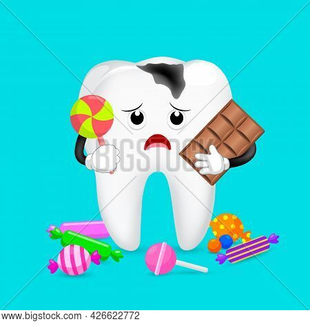 Caries Tooth Character With Candy. Dental Care Concept. Illustration.