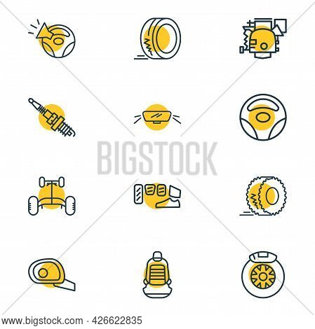 Vector Illustration Of 12 Details Icons Line Style. Editable Set Of Car Chassis, Wheel Rudder, Car B