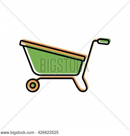 Garden Cart For Seedlings Color Icon Isolated On White Background. Wheelbarrow, Garden Tools, Househ